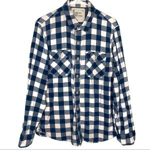 American Eagle Flannel Size Large Blue White Check